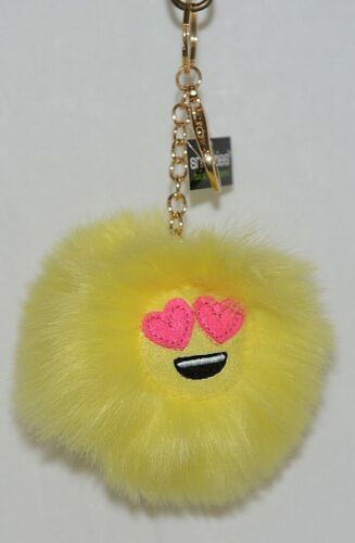 Snoozies Yellow Black Pink Fluffy Emoji Heart Eyes Backpack Charm Chain