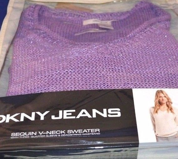 Primary image for DKNY Jeans Sequin V Neck 3/4 Sleeve drawstring waist Sweater  Purple Sz L