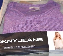 DKNY Jeans Sequin V Neck 3/4 Sleeve drawstring waist Sweater  Purple Sz L - $27.08