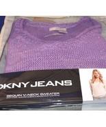DKNY Jeans Sequin V Neck 3/4 Sleeve drawstring waist Sweater  Purple Sz L - $27.08
