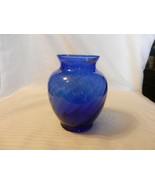 """Round 6"""" Tall Glass Vase Cobalt Blue With Spirals - $37.13"""