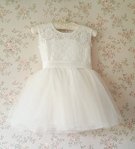 WHITE Lace Tutu Flower Girl's Dress White Knee Length Birthday Party Dresses NWT image 2