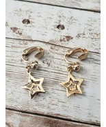Vintage Clip On Earrings Double Star Gold Tone Dangle - $13.99