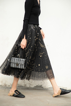 Black Pleated Long Tulle Skirt High Waisted Pleated Tulle Holiday Skirt Outfit image 3