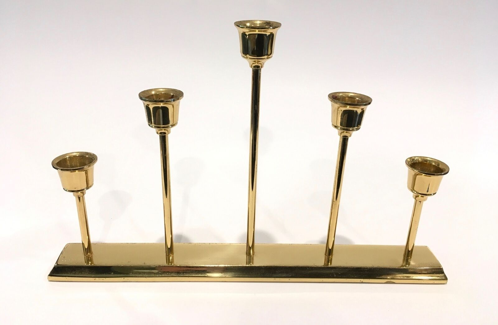 Set of 5 Vintage Graduating Brass Taper Candle Stick Holders Hollywood Regency - $29.99