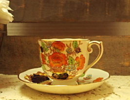 Vintage Roslyn Fine Bone China Sherwood Tea Cup With Saucer Made in England - $12.50