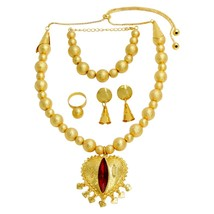 African Luxury New Gold Jewelry Sets Women Crystal Necklace Bracelet Hol... - $40.98