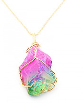 N.egret Golden Necklace Pink Green Gemstone Pendant Novel Gift for Girl ... - $40.52
