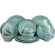 Elama Embossed Stoneware Ocean Dinnerware Dish Set, 16 (16 Piece|Turquoise) - $65.52