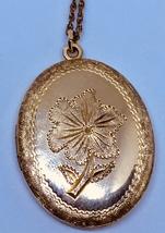 """Vintage 12K gold filled etched flower large oval locket 24 1/2"""" chain necklace - $125.00"""