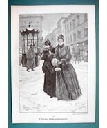 CHRISTMAS Shopping Ladies Big City Snow Winter - VICTORIAN Era Print - $12.15