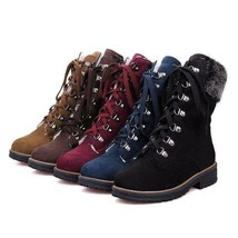 2019 Womens Fashion Winter Fur Trim Lace Up Chunky Low Heel Military Ank... - $159.50