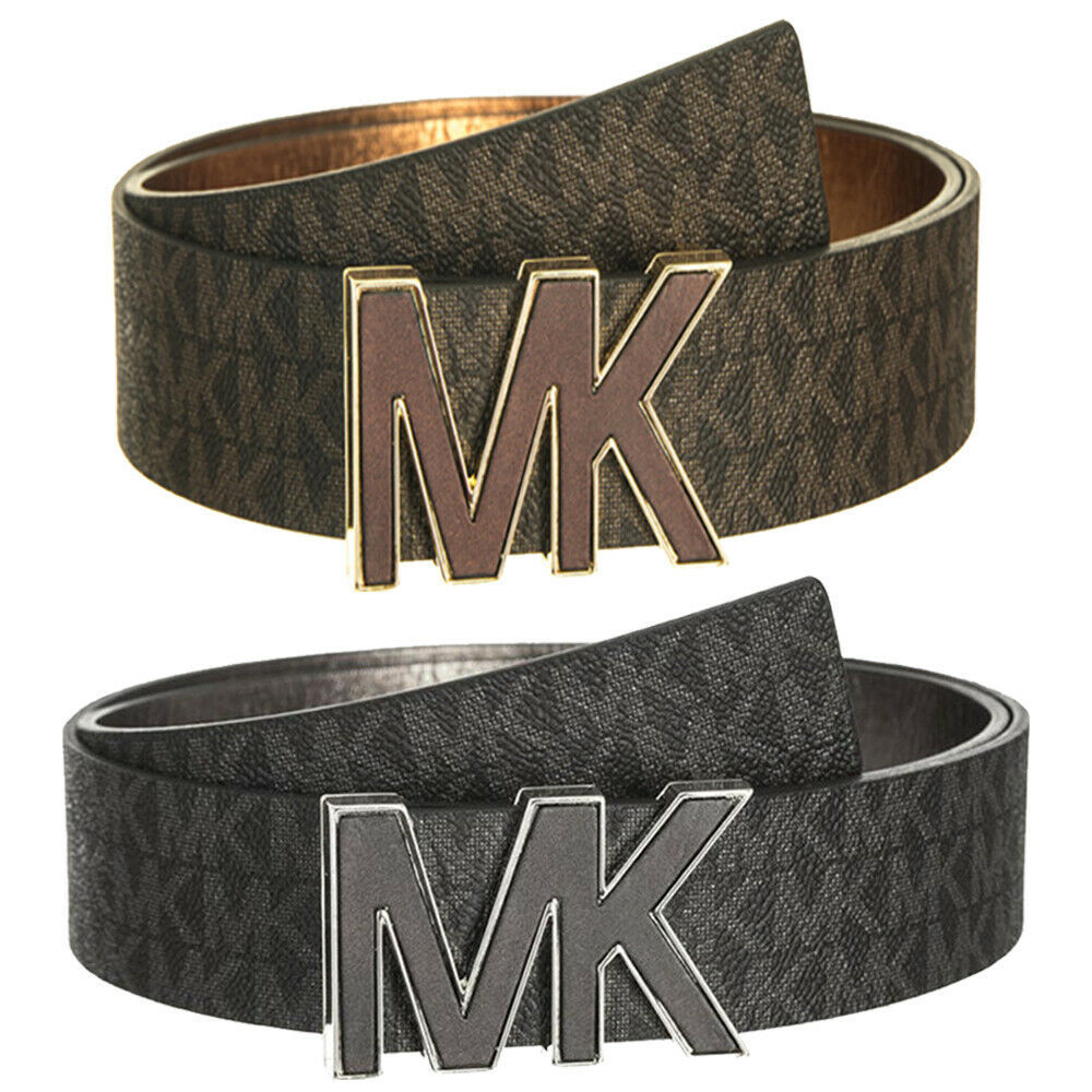 Michael Kors Women's Premium MK Logo Signature Plaque Faux Leather Belt 553504