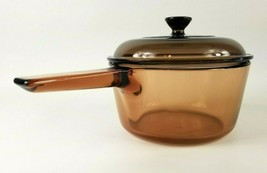 Corning Vision Ware 1.5 L Amber Brown Glass Pot Sauce Pan with Lid Made in USA - $28.53