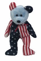 Ty Beanie Baby Spangle Plush Red White and Blue Bear with Blue Face Flag... - $9.89