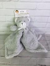 Blankets & Beyond Gray Sherpa Bear Baby Nunu Security Blanket Sherpa Lov... - $35.63