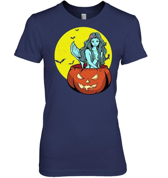 Funny Halloween Tshirt with Pumpkin Mermaid Gift