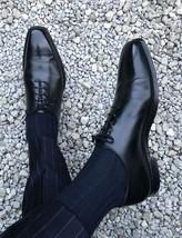 Handmade Men Oxford formal black leather shoes, Men black leather dress shoes - $164.99