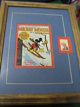 Framed-DISNEY 6 Cent Stamp W. Mickey Mouse Mag Cover #4................SALE - $14.85