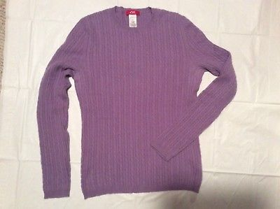 Primary image for  Womens M L ANNE KLEIN SPORT Lavender 100% Cashmere cable Knit Crew Sweater