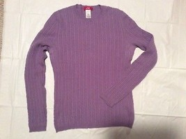 Womens M L ANNE KLEIN SPORT Lavender 100% Cashmere cable Knit Crew Sweater - $27.04