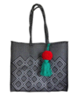 Black And Silver beach tote plastic shopping handwoven bag with pom Tassel - $85.00