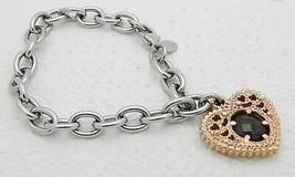 VTG Stainless Steel MILOR Italy Smokey Quartz Rhinestone Heart Charm Bra... - $49.50