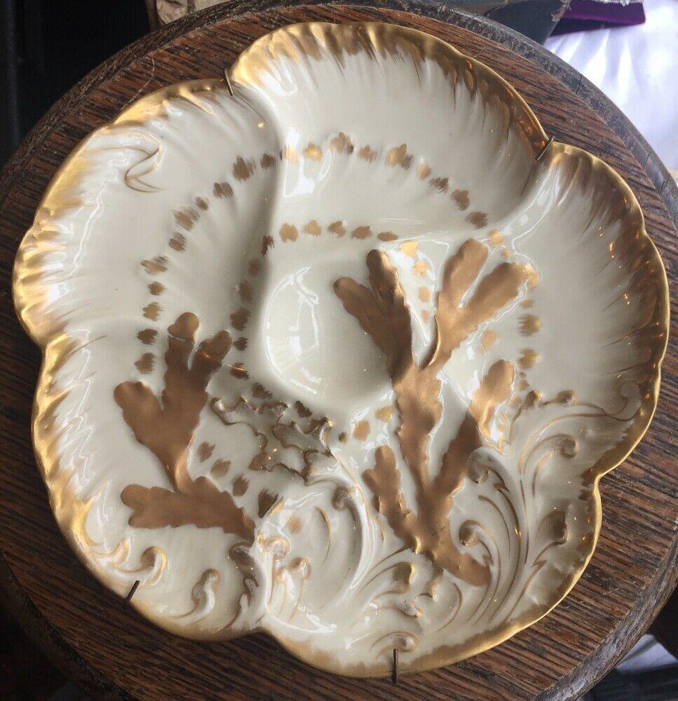 Antique Oyster Plate Haviland Limoges Gold Coral CFH/GDM France 1882 Cabinet Pl - $341.99