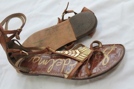 Sam Edelman Gold On Tan Leather Gladiator Thong Sandal Sz 8.5 M - $24.75