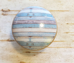 "Handmade Set of 4 Beach Blue White Weathered Knobs, 1.5"" Cabinet Knobs - $23.76"