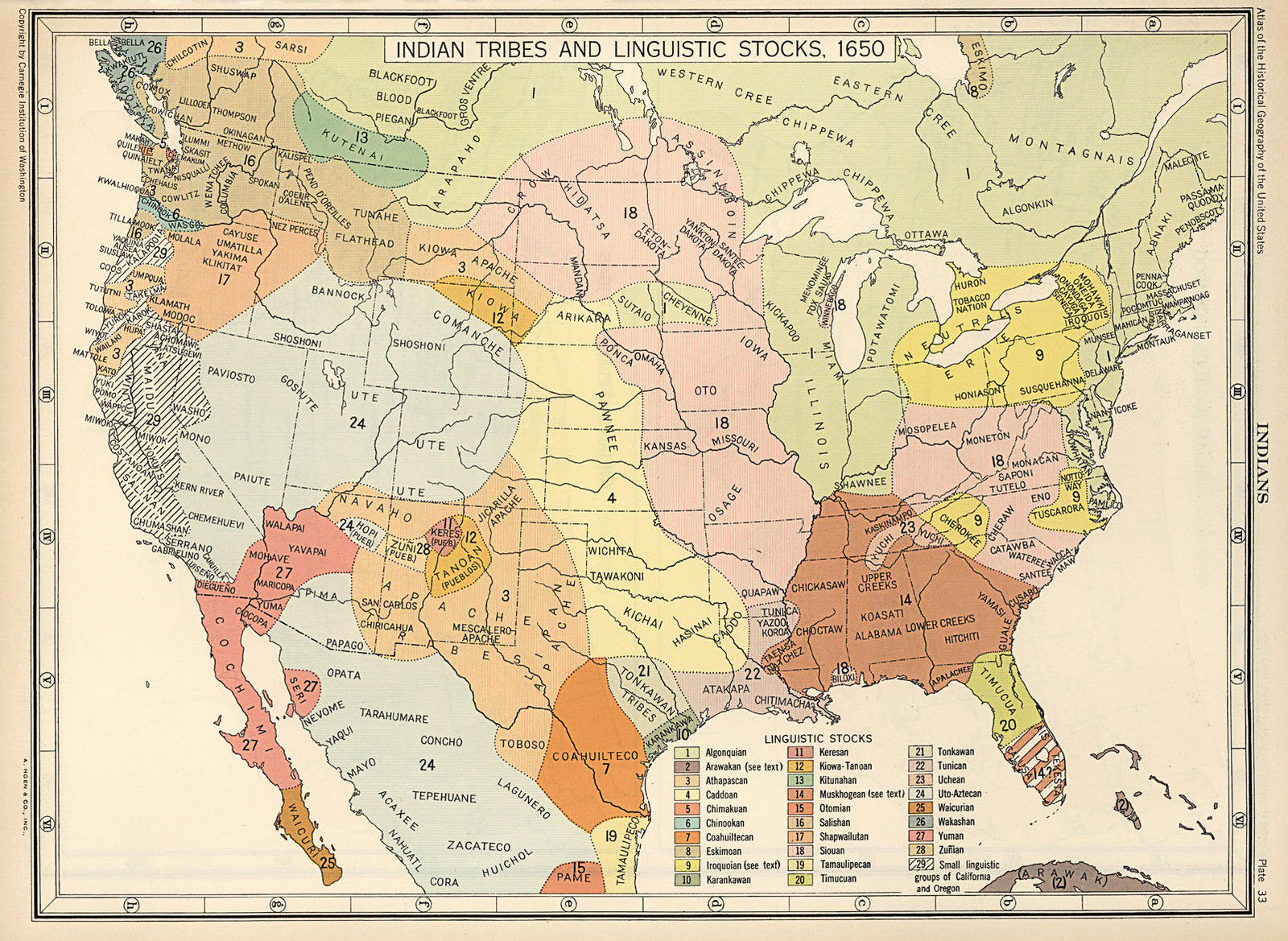 US Map Indian Tribes Linguistic Stocks Native American - Map of us tribes