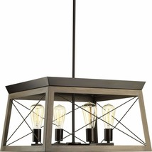 Briarwood Collection Rich Oak Four-Light Farmhouse Chandelier Bronze - $136.97