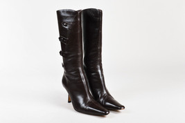 Jimmy Choo Brown Leather Button Pointed Toe Tall Heel Boots SZ 38.5 - $160.00