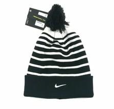 Nike Performance Beanie Hat Removable Pom Black White OSFA BV2510 - $24.74