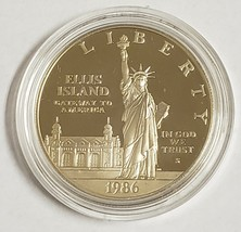 1986 Liberty Eliis Island .900 Fine Silver Proof Dollar Box & COA - $19.55