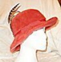 *VINTAGE KANGOL DARK CORAL WITH FEATHERS HAT WARM & CHIC CLASSICAL SHAPE - $17.61