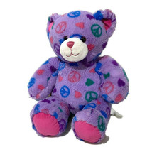 "BABW Build a Bear Workshop Peace Sign Symbol 15"" Purple Boho Hippie Toy 2011 - $18.70"