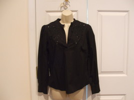 NWT Newport News Black Open Enbroidery Long Sleeve Pulon Top 100% Cotton Size  6 - $16.33