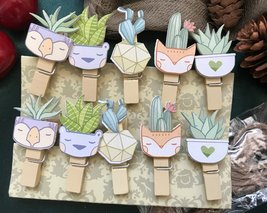 60pcs Plant Wood Clips,Bookmark Memo Clip,Children's Birthday Party Gift... - $3.20+