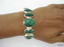 vintage sterling silver bracelet cuff emerald colour gemstone bracelet - $164.34