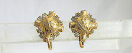 "Vintage Small Textured Gold Plated ""Pillows"" w/ Clear Stones Earrings Sc... - $13.50"