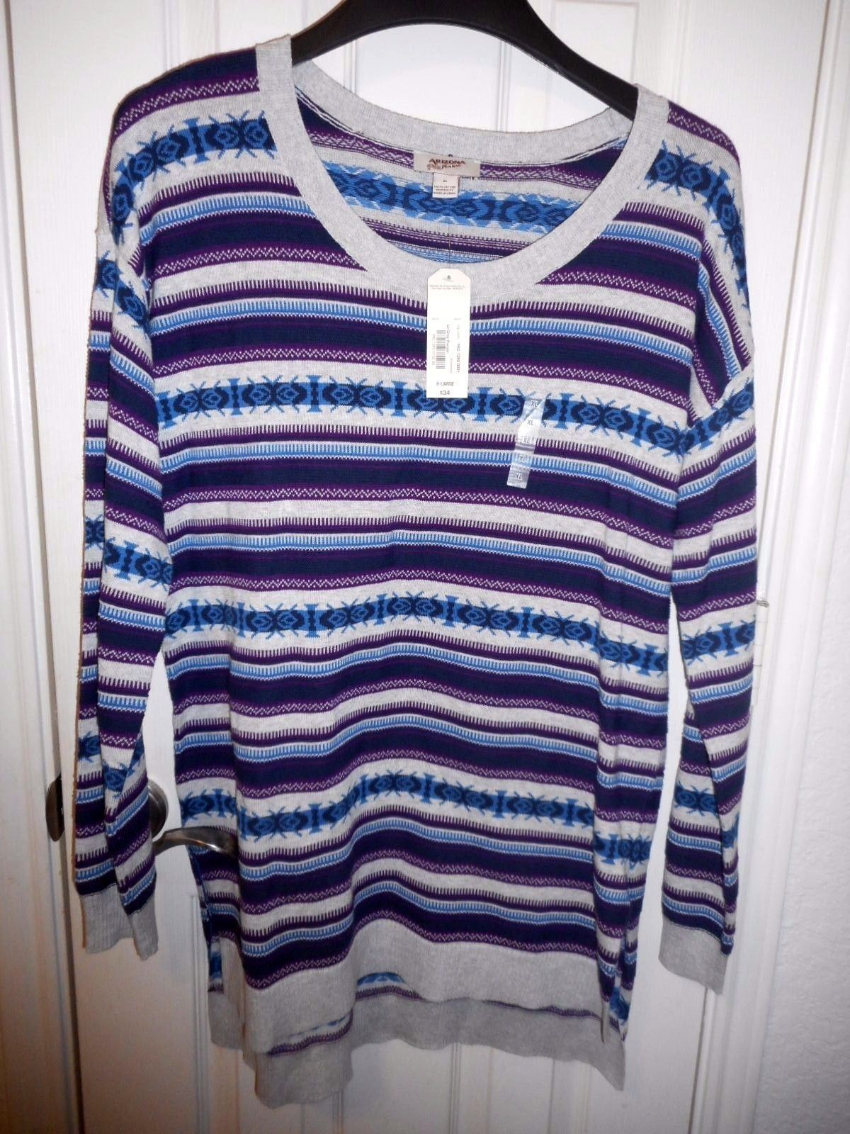 Women's Arizona Scoop Neck Tunic Sweater Size Large Gray Purple NEW
