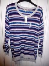 Women's Arizona Scoop Neck Tunic Sweater Size Large Gray Purple NEW - $22.76