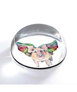 "Flying Pig Illustration Art Gift 2"" Crystal Dome Magnet or Paperweight - £11.78 GBP"