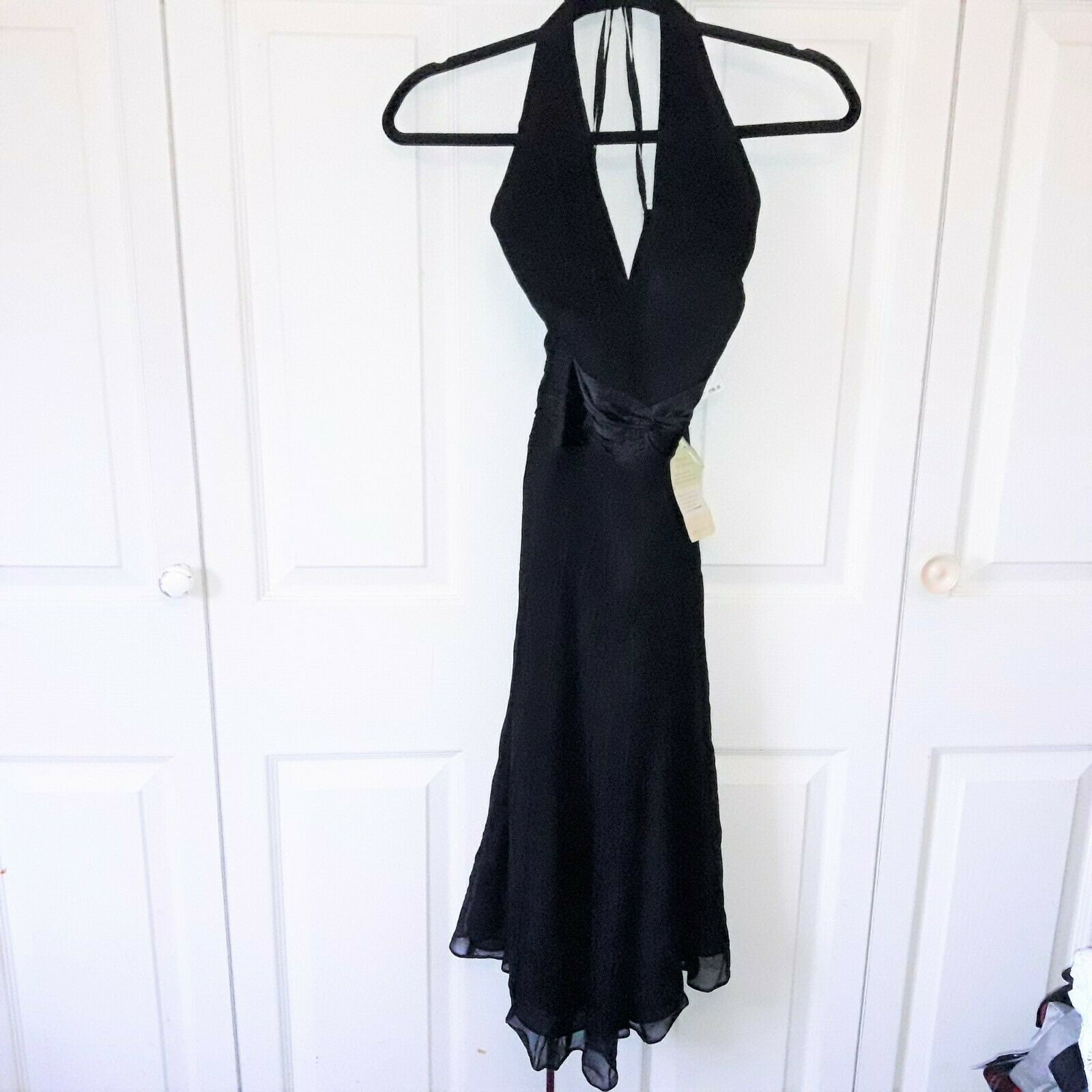 Primary image for New With Tags Anne Klein Halter Dress 100% Silk Size 4 Black