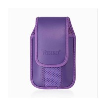 Purple Leather Case Vertical with pinch clip fits LG B470 - $12.86