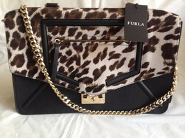 Furla Alice Crossbody Satchel Animal Print and Black Leather Purse Bag - $450.00