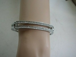 Stunning, Silver Toned Rhinestones Bangle Bracelet 7.5in L x 1/2in W - $12.30