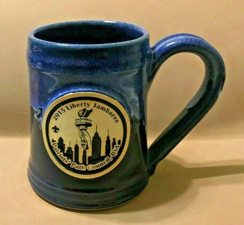 Primary image for GREY FOX POTTERY MUG- 2015 LIBERTY JAMBOREE, PATRIOTS OF AMERICA, BSA  4 1/2""