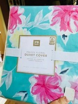 Pottery Barn Teen Preppy Floral Duvet Cover Queen Blue Pink No Sham - $75.82